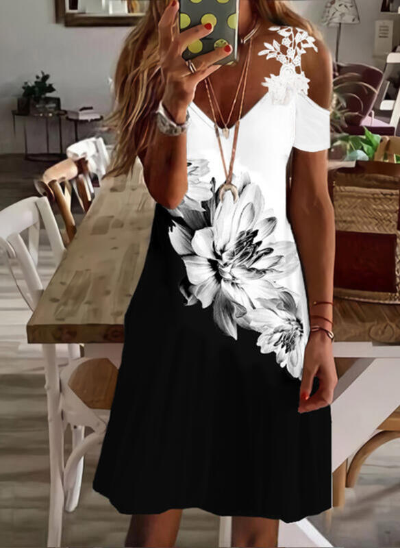 Print/Floral/Color Block Lace Short Sleeves Cold Shoulder Sleeve A-line Above Knee Casual/Vacation Skater Dresses