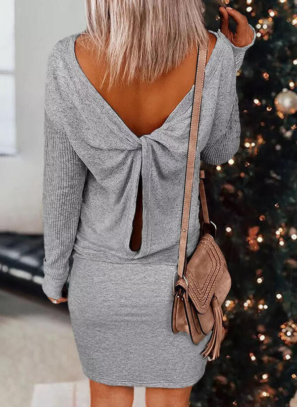 Solid Long Sleeves Bodycon Mini Casual Dresses
