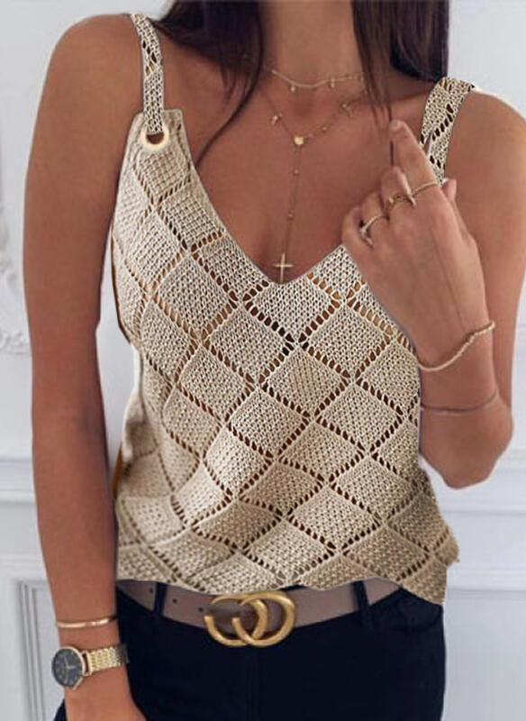 Solid Strap Sleeveless Casual Knit Tank Tops
