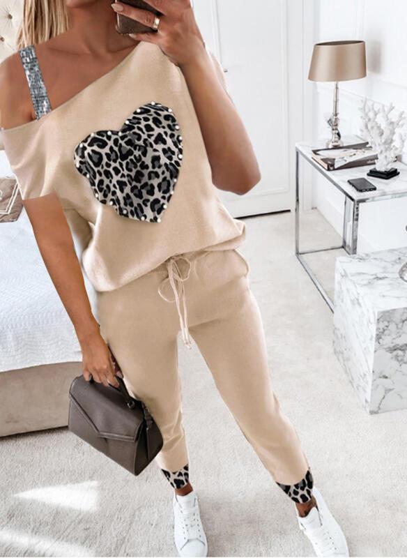 Leopard Heart Casual Plus Size Blouse & Two-Piece Outfits Set