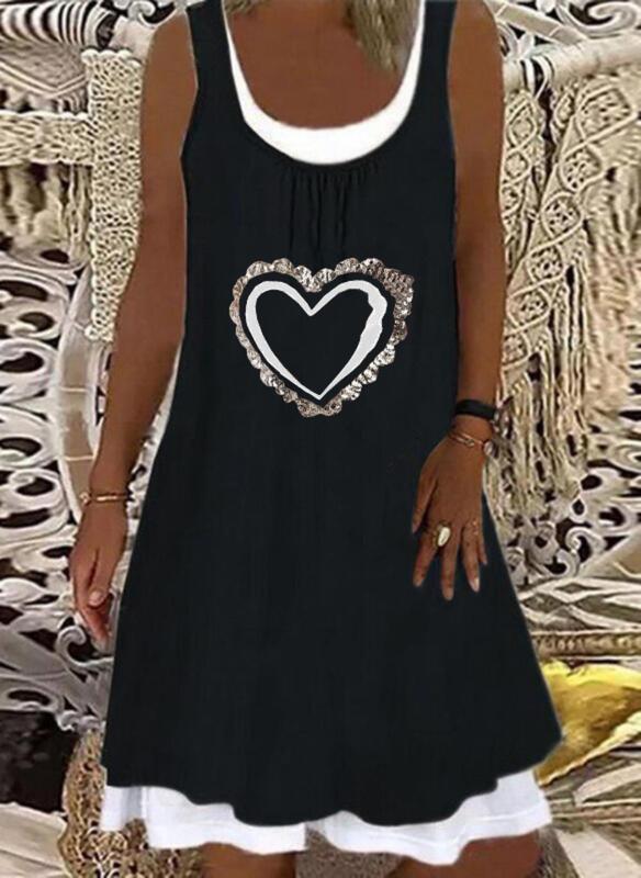 Sequins/Heart Sleeveless Shift Knee Length Casual Tank Dresses