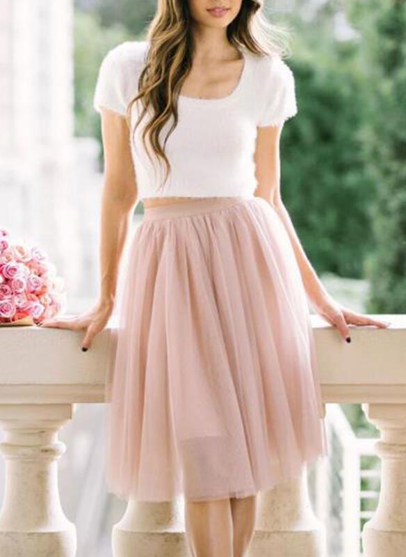 Cotton Blends Plain Knee Length A-Line Skirts