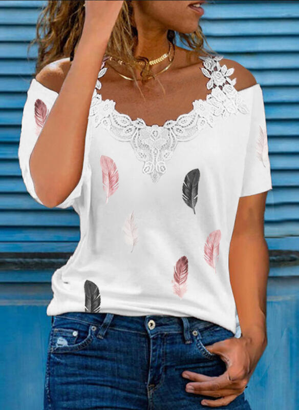 Print Lace Cold Shoulder Short Sleeves Casual Blouses