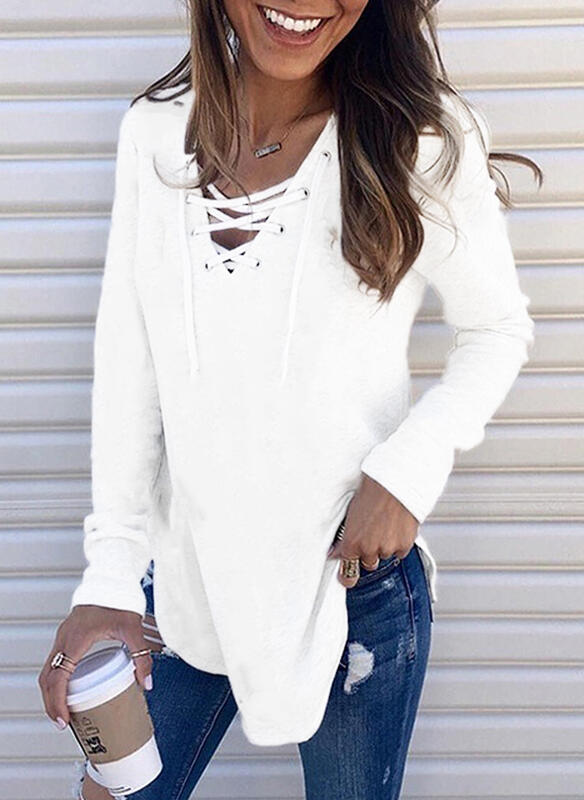 Solid Lace-up V-Neck Long Sleeves Casual Blouses