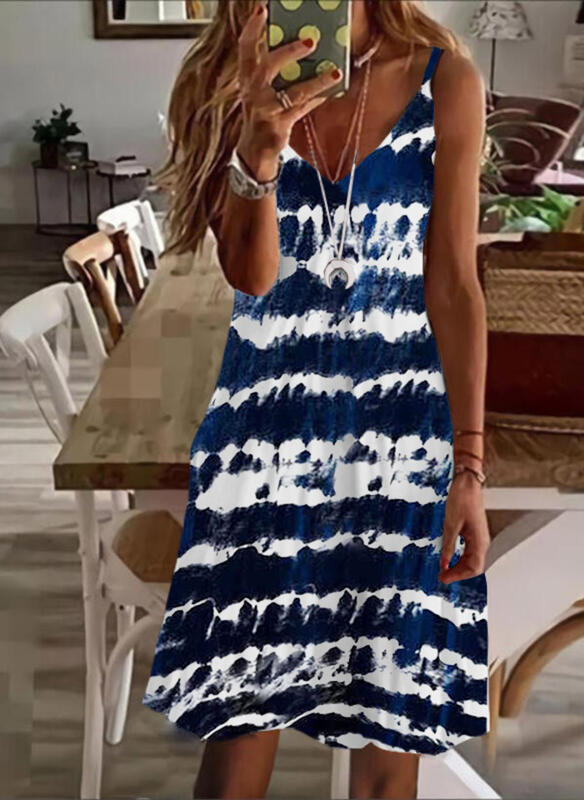 Tie Dye Sleeveless Shift Above Knee Casual/Vacation Slip Dresses