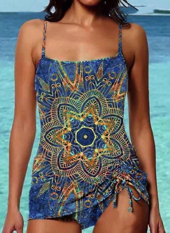 Strap U-Neck Vintage Casual Tankinis Swimsuits