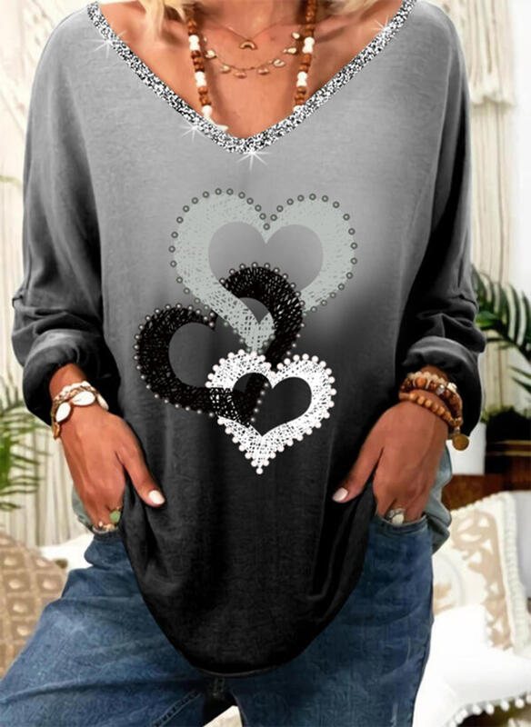 Print Sequins Beaded Gradient Heart V-Neck Long Sleeves Casual T-shirts