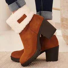 De mujer Ante Tacón ancho Botas Botas al tobillo Botas de nieve Top bajo Tacones Botas de invierno con Cremallera zapatos