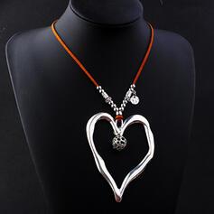 Vintage Elegant Romantic Alloy Leather With Heart Shaped Women's Ladies' Unisex Necklaces