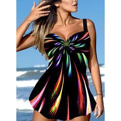 Print Strap V-Neck Vintage Plus Size Swimdresses Swimsuits