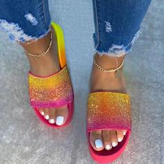 Women's Cloth Flat Heel Sandals Flats Platform Peep Toe Slippers With Rhinestone Splice Color shoes
