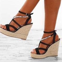 PU Plataforma Sandálias Plataforma Calços Peep toe Saltos com Outros sapatos