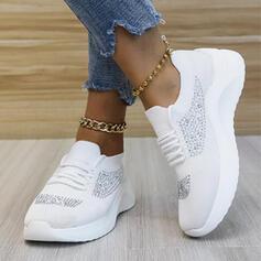 Femmes Tissu Mesh Talon plat Chaussures plates bout rond Tennis avec Dentelle Couleur d'épissure chaussures