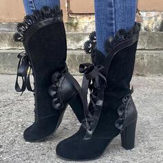 Mulheres PU Salto robusto Botas Botas na panturrilha Toe rodada com Ruched Aplicação de renda sapatos
