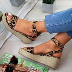 Women's PU Wedge Heel Sandals Wedges Peep Toe With Buckle Animal Print shoes