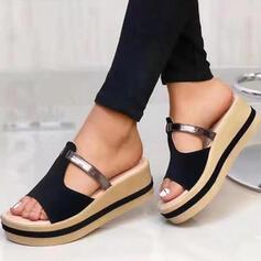 Femmes Vrai cuir Talon compensé Sandales Chaussons avec Ouvertes Semelle chaussures