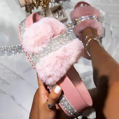 Women's Leatherette Sparkling Glitter Flat Heel Sandals Flats Platform Peep Toe Slippers With Rhinestone Faux-Fur shoes