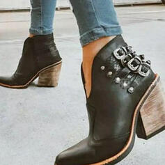 Women's PU Chunky Heel Ankle Boots With Rivet Buckle shoes