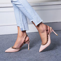 Women's PU Stiletto Heel Pumps Pointed Toe With Rivet Buckle shoes
