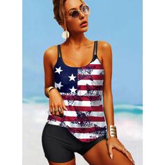 Flag Star Splice color Strap U-Neck Classic Plus Size Tankinis Swimsuits