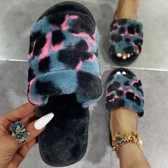 Femmes PU Talon plat Sandales À bout ouvert Chaussons avec La copie Animale chaussures