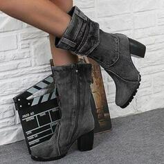 De mujer PU Tacón ancho Botas longitud media Encaje con Cremallera Color sólido zapatos