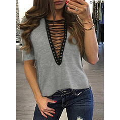 Lace-up V-Neck Short Sleeves Casual Blouses