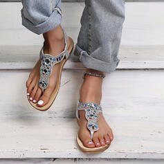 Women's PU Flat Heel Sandals Peep Toe Flip-Flops Slippers With Hollow-out shoes