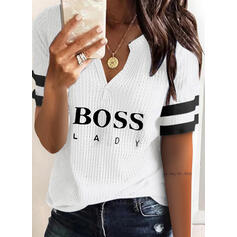 Print Striped Figure V-Neck Short Sleeves Casual Blouses
