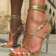 Mulheres PU Salto agulha Sandálias Bombas Low Top Anel de dedo do pé Saltos com Fivela Aplicação de renda Oca-out Cruzado Cor sólida sapatos