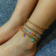 With Rhinestones Flowers Women's Ladies' Anklets 4 PCS