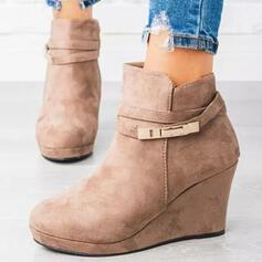Mulheres Camurça Plataforma Botas Bota no tornozelo Low Top Toe rodada com Fivela Cor sólida sapatos