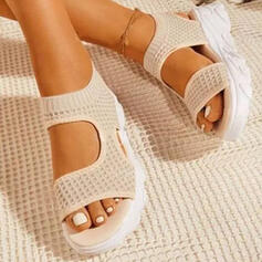 Women's Flying Weave Wedge Heel Sandals Platform Wedges Peep Toe With Hollow-out Solid Color shoes