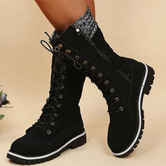 Women's PU Chunky Heel Boots Mid-Calf Boots Martin Boots Riding Boots Combat Boots With Lace-up Solid Color shoes