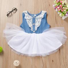 Toddler Girl Lace Denim Cotton Dress