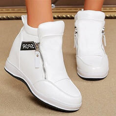Women's Leatherette Wedge Heel Ankle Boots Low Top With Zipper shoes