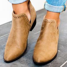 De mujer Ante Tacón ancho Botas al tobillo Top bajo Dedo del pie puntiagudo con Color sólido zapatos