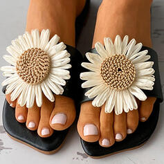 Women's PU Flat Heel Sandals Flats Peep Toe Slippers With Applique Hollow-out shoes