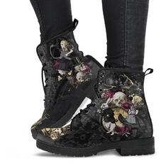 Women's Leatherette Mesh Low Heel Mid-Calf Boots Low Top Combat Boots With Lace-up Flower shoes