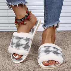 Femmes Suède Talon plat Sandales À bout ouvert Chaussons avec Couleur d'épissure chaussures