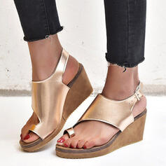 Women's PU Wedge Heel Sandals Platform Wedges Peep Toe Slippers Toe Ring Heels With Buckle Hollow-out shoes