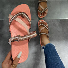 Women's Canvas Flat Heel Sandals Flats Peep Toe Slippers With Hollow-out Crisscross shoes