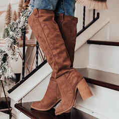 Women's Suede Chunky Heel Boots With Solid Color shoes