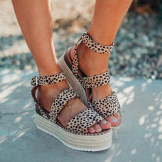 Women's Suede Flat Heel Sandals Flats Platform Peep Toe With Animal Print Hollow-out shoes