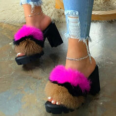 Women's Leatherette Chunky Heel Sandals Pumps Platform Peep Toe Slippers Heels With Faux-Fur Elastic Band shoes