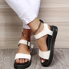 Mulheres PU Sem salto Sandálias Sem salto Plataforma Peep toe Sapatos abertos com Fivela Cor sólida sapatos