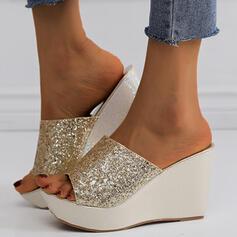 Femmes PU Talon compensé Sandales Compensée À bout ouvert Chaussons avec Paillette Pailletes scintillantes chaussures