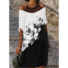 Imprimée/Fleurie/Couleur De Bloc Manches 1/2 Droite Longueur Genou Décontractée Tunique Robes