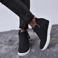 Mulheres Couro Sem salto Bota no tornozelo com Zíper sapatos