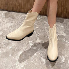 Women's Leatherette Boots Mid-Calf Boots With Solid Color shoes
